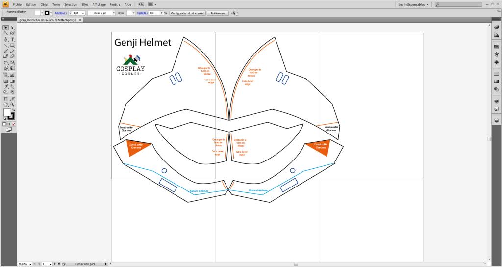 Patron du casque de Genji réalisé sous Illustrator